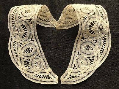 "Lovely Battenberg Lace Off-white Two Part Hand Made Vintage Collar 7 3/4"" x 2 1/"