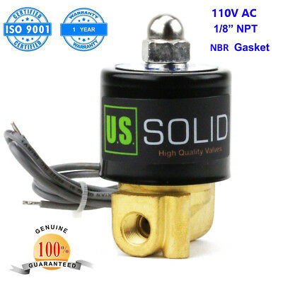 "U.S. Solid 1/8"" 110V AC Brass Electric Solenoid Valve Normally Closed NBR"