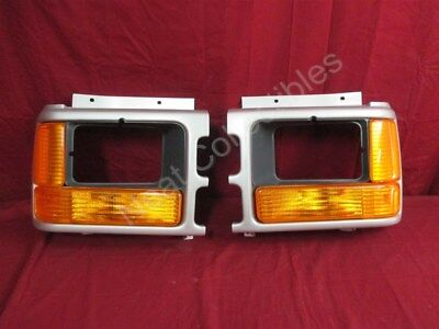 NOS OEM Dodge Dakota Headlamp SILVER Bezel for Sealed Beam 1993 - 96 PAIR