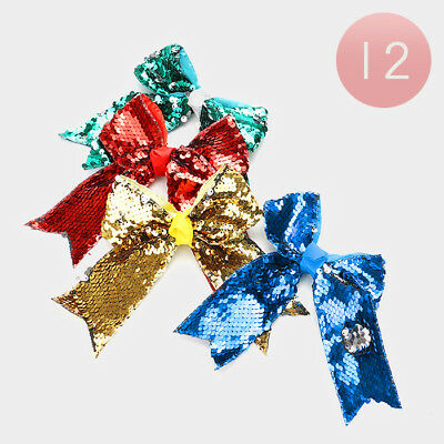 12 Assorted Reversible Sequin Hair Bow Barrettes Clips Wholesale Lot Girls Party