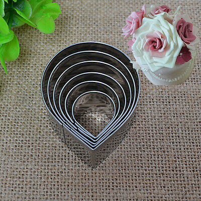 Cake Decor Fondant Sugarcraft Cutters Tools 6pcs/set Rose Petal Mold Mould UKWG