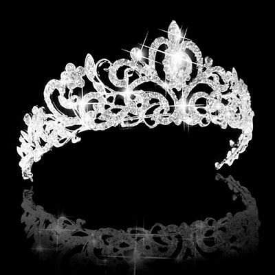 Women's Bridal Princess Rhinestone Prom Hair Tiara Crown Veil Headband Flowery