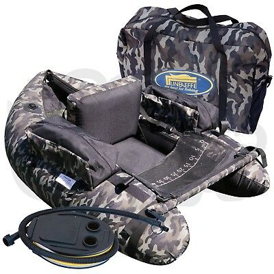 Lineaeffe Camo Pattern Belly Boat for Game Trout Fishing + Carry Bag & Foot Pump