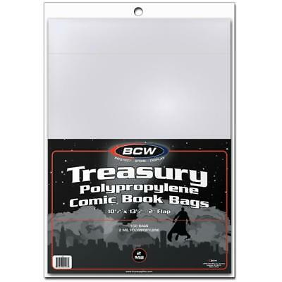 100 BCW TREASURY Bags/Covers/Sleeves - 10 1/2 x 13 1/2 - Acid Free Archival Safe