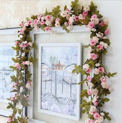 7ft Shabby Chic Pink Rose Garland Flower Vintage Style WEDDING String Bedroom QW