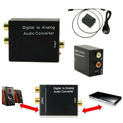 Digital Optical Toslink or Coaxial to Analog L/R RCA Audio Converter Adapter