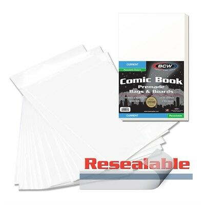 50 Bcw Premade Resealable Current Comic Bag And Boards