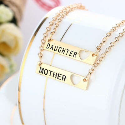 2pcs Mother and Daughter Matching Necklace Set Mom Heart Jewelry Best Friends