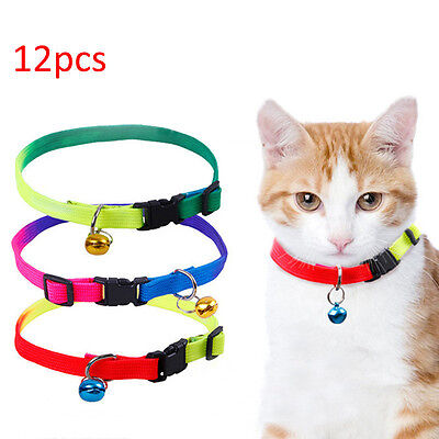 12PCS Dog Collars Pet Cat Puppy Color Buckle Nylon Collar W/Bell Wholesale UKYQ