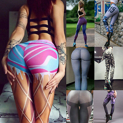 Womens High Waist Yoga Fitness Sport Gym Workout Leggings Stretch Trousers Pants