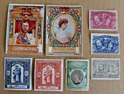 8 Early UK Royalty Queen Victoria King George Cinderella Stamps Labels