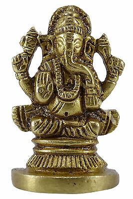Religious Gold Brass Figurine Table Decor Lord Ganesha Statue Car Office