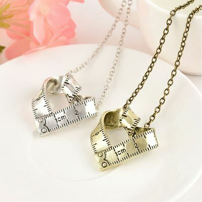 Measure Ruler Pattern Love Heart Shape Gift Necklace Fashion Jewelry Pendant