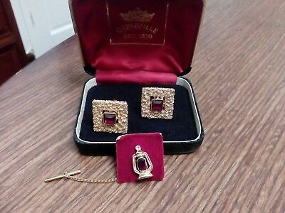 Vintage Boxed Pair  Of Grenville Ruby Cufflinks  & Tie Pin