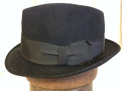 Vintage 50s Adam Black Mens Stingy Brim Fedora Hat 2