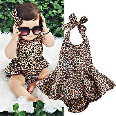 Newborn Toddler Baby Kids Girl Clothes Leopard Romper Bodysuit Jumpsuit Outfits