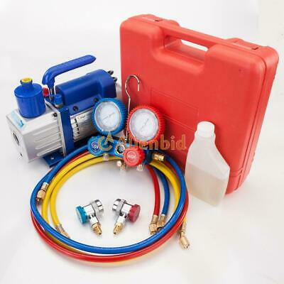 3 CFM 1/4HP Air Vacuum Pump HVAC Refrigeration AC Manifold Gauge R22 R134a Kit