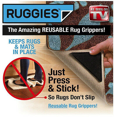 4PCS Mat Rug Carpet Grippers - Non Slip Anti Skid Reusable Washable Grip Pack AU