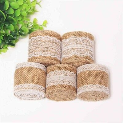 2m DIY Jute Burlap Natural Hessian Ribbon With Lace Trim Edge Wedding Rust Uylj