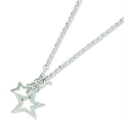 "Ladies .925 Sterling Silver 3.6mm Polish Fancy Stars Charm w/ 16"" Chain Necklace"