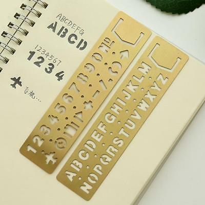 Drawing Graffiti Template Numbers&letters Hollow Ruler Brass Stationery Uskt