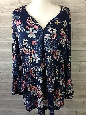 NEW Style Co Peasant Blouse Plus 2X Bell Sleeve Shirred Blue Floral NWT N1-XX