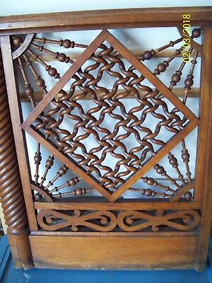 Vintage Walnut Twisted Rope Carved Architectural Wood Panel Door ~ Gate ~ Stair