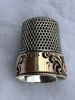 Antique Sterling and 14k Gold Sewing Thimble