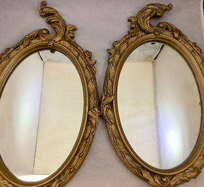 Pair of Antique Victorian Oval Wall Mirrors Ornate Gold Gilt Gesso Wood Frame...