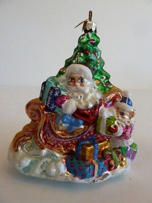 Christopher Radko Santa & Sleigh Glass Christmas Ornament
