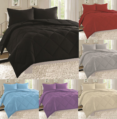 3PC Diamond Stitched Quilted Down Alternative Ultra Plush Solid Colors IN QUEEN