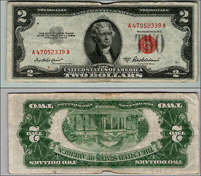 (1)-1953A  Series United States Note Red Seal $2 Two Dollar Bill  LT P20