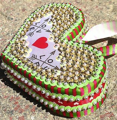 "Handmade Sequins Beaded Christmas / Valentines Day Heart ""love"" Ornament"
