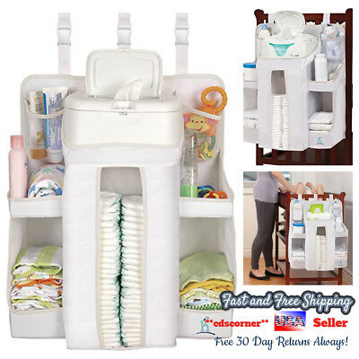 Baby Crib Changing Table Hanging Baby Diaper Supplies Organizer Storage Caddy