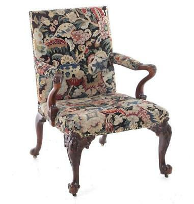 George III carved mahogany library armchair Lot 24