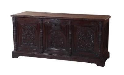 Northern European carved oak coffer or marriage chest Lot 220