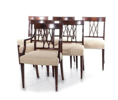 Hepplewhite style inlaid mahogany dining chairs, set of six (6pcs) Lot 39