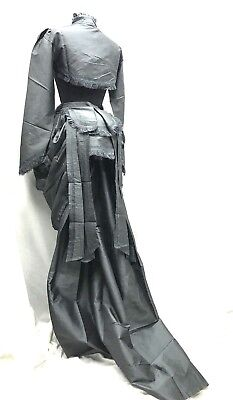Victorian Grey 3pcs Outfit Bolero & skirt  Full Bustle Front,Back In S M L