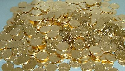 1250 new golden brass 1/2 dollar size slot machine tokens - 30mm - full case