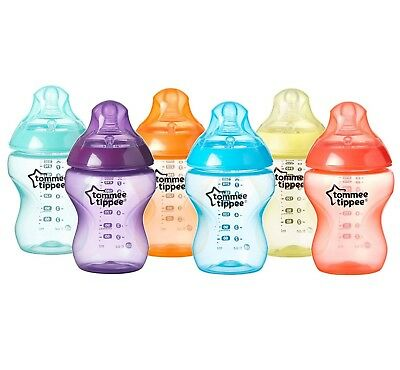Tommee Tippee Closer To Nature Fiesta Fun 6 Baby Feeding Bottles 260 ml 0+m NEW