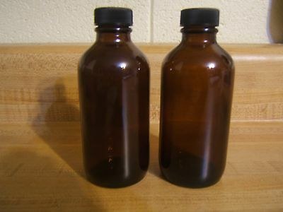 2 pc AMBER 4 oz 120 ml  Boston Round Glass Bottles With Black Cap FREE SHIP