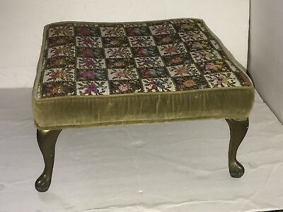 Vintage French Provincial Ottoman Stool Bench Cabriole Metal Legs