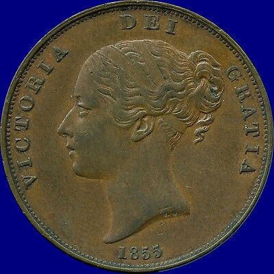 1855 Great Britain 1 Penny Coin