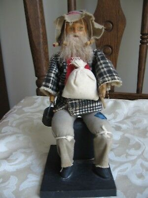 "Vintage Old Man Sitting Vagabond Doll With Music Box Unique 7 ½"" Tall Japan Rare"