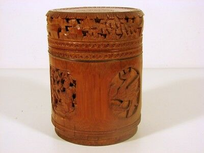 19th C Chinese Export Bamboo Carved Tea Caddy, H - 6.49 inches