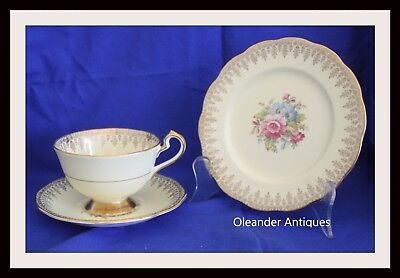 Queen Anne Vintage teacup saucer and plate trio Yellow colours Pattern 4719