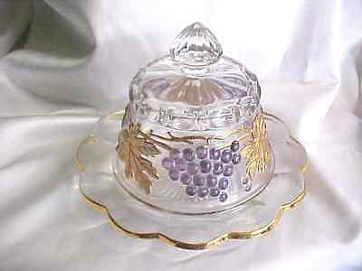 Mosser Glass Hand Painted Grape Cable Butter Dome Dish 151BCD