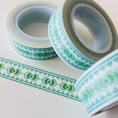 Washi Tape Mint Olive Border 15Mm Wide X 10Mtr Roll Planner Wrap Scrap Craft