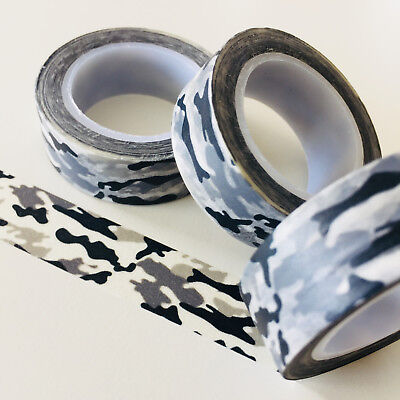 Washi Tape Black Grey Camouflage 15Mm Wide X 10Mtr Roll Planner Wrap Scrap Craft