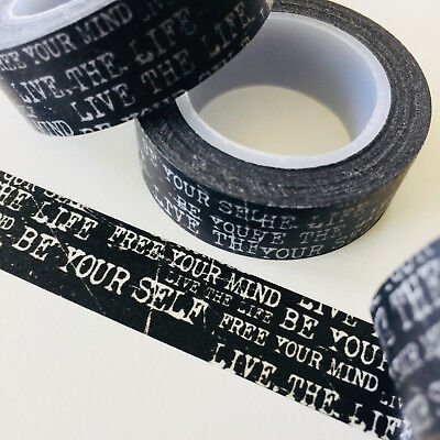 Washi Tape Be Yourself On Black 15Mm Wide X 10Mtr Roll Planner Wrap Scrap Craft